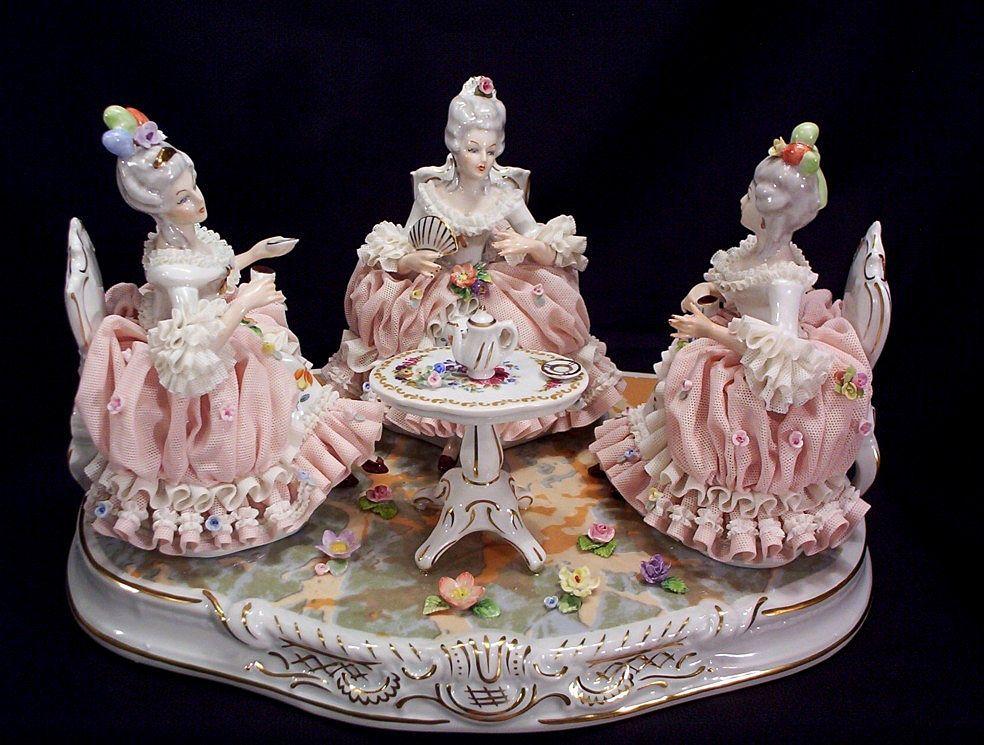 Vintage Dresden Tea Party Porcelain Grouping - circa 1940's
