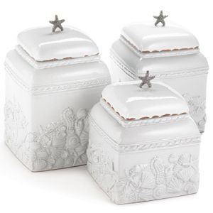 Beach Themed Kitchen Canisters 1. Made Of Milk Glazed Terracotta The Canister Has A Charming Seashell Design With A Metal Starfish Top Only 1 Left In Stock
