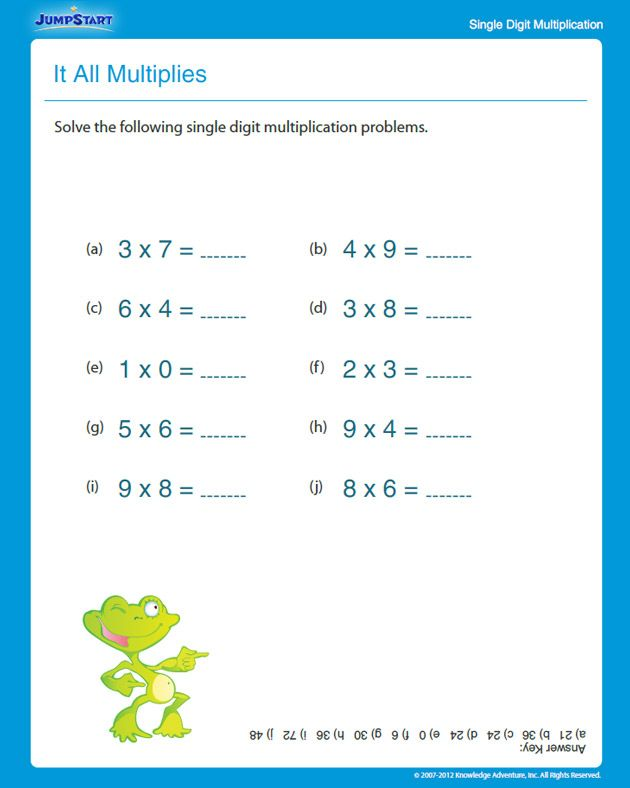 It All Multiplies - Free Multiplication Worksheet for 3rd Grade ...