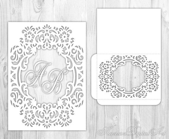 wedding invitation floral wreath monogram frame envelope card template cricut brother scan and. Black Bedroom Furniture Sets. Home Design Ideas