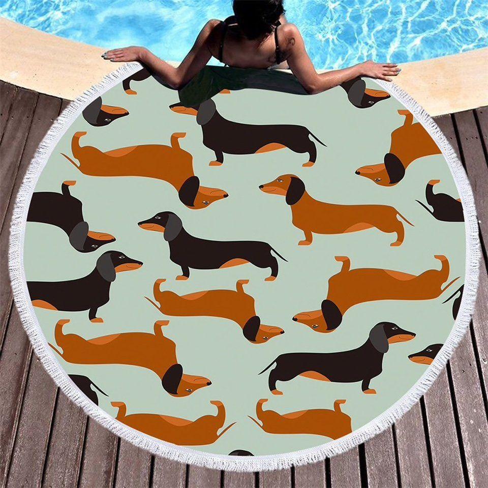 Dachshund Dog Round Beach Towel Summer Beach Towel With Tassels