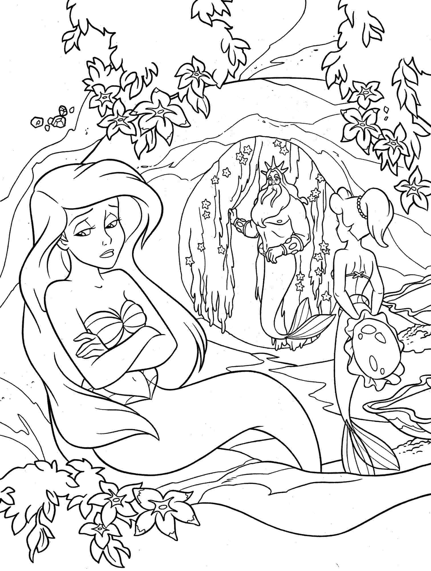 Little Mermaid Coloring Pages Disney #1 | under the sea | Pinterest ...