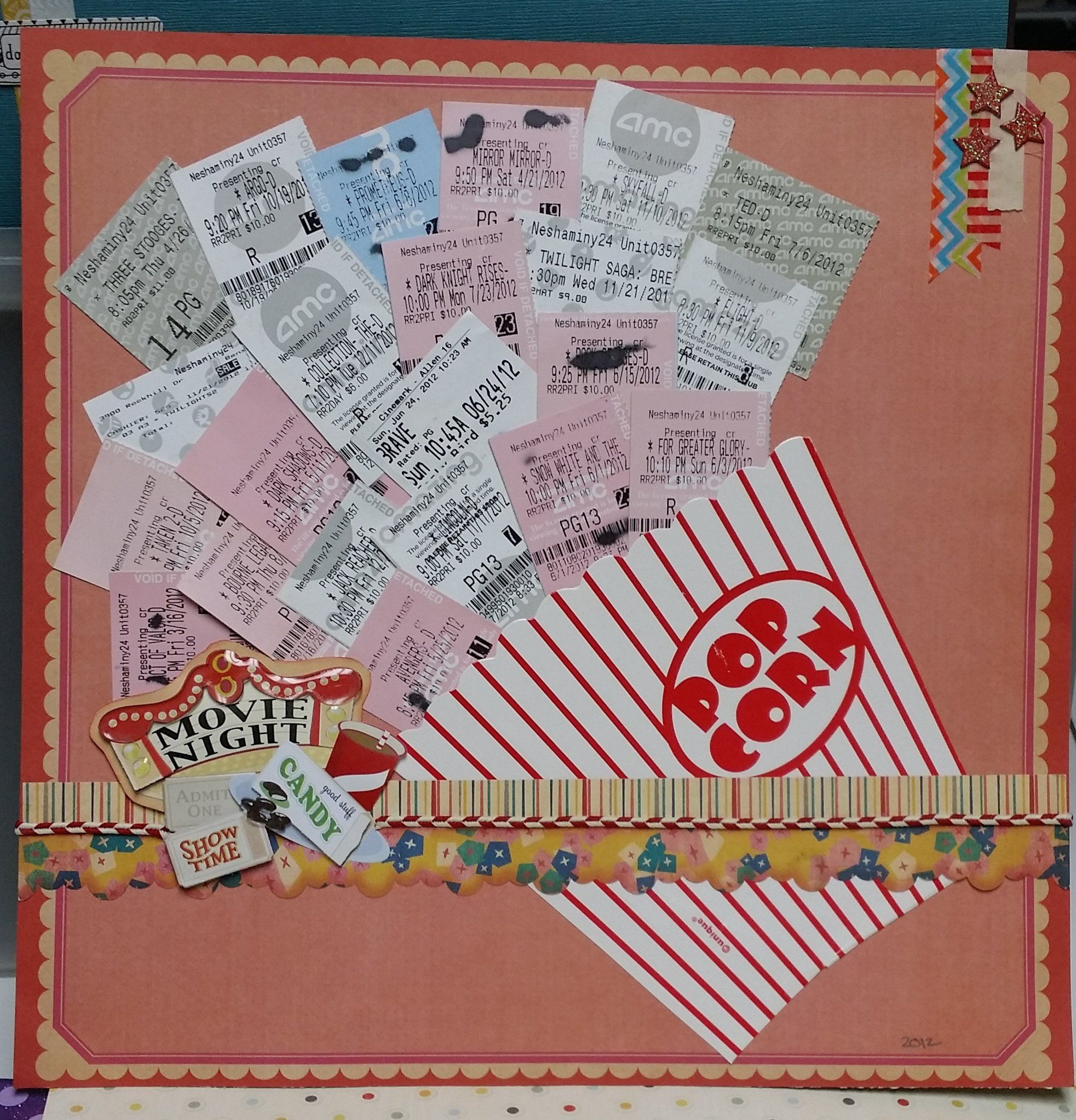 Movie Night Scrapbook Or An Interesting Page For Tickets From