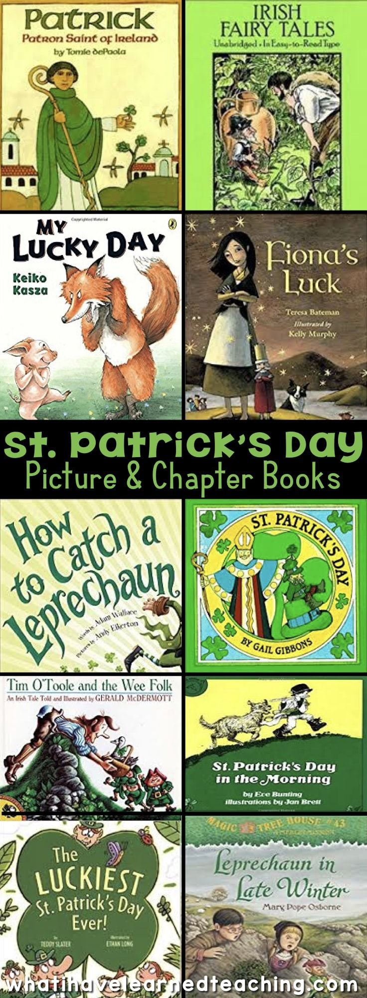 Books are an engaging way to enhance lessons. Here is an excellent St. Patrick's Day Booklist. These St. Patrick's Day Books make a fun read aloud for elementary grades!