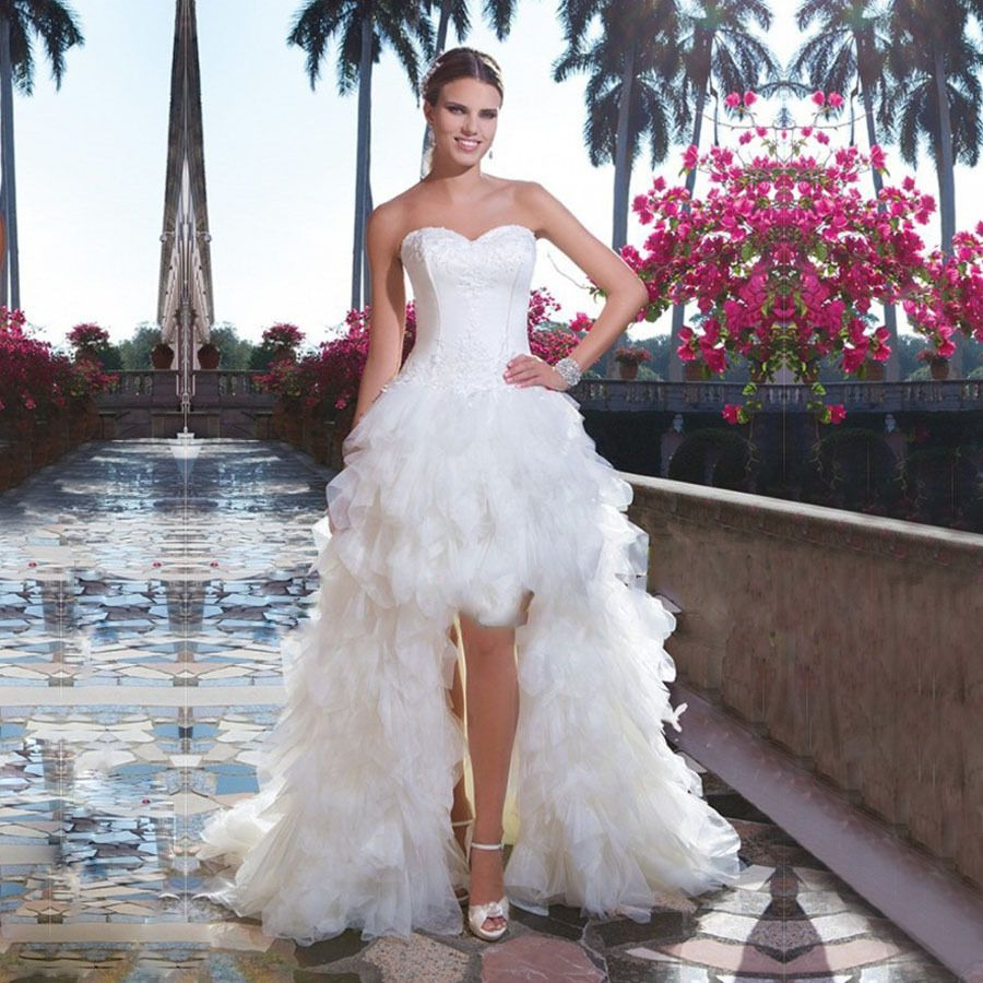 Find a glamorous white tulle wedding dresses tiered ruffled high low