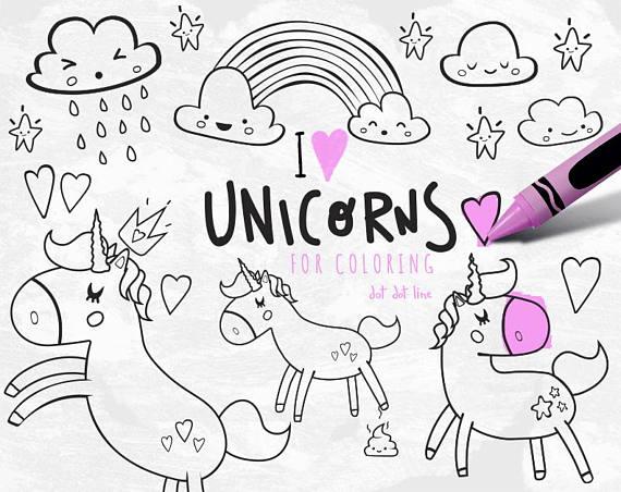 Unicorn Clipart vector Set for coloring INSTANT DOWNLOAD, Unicorn ...