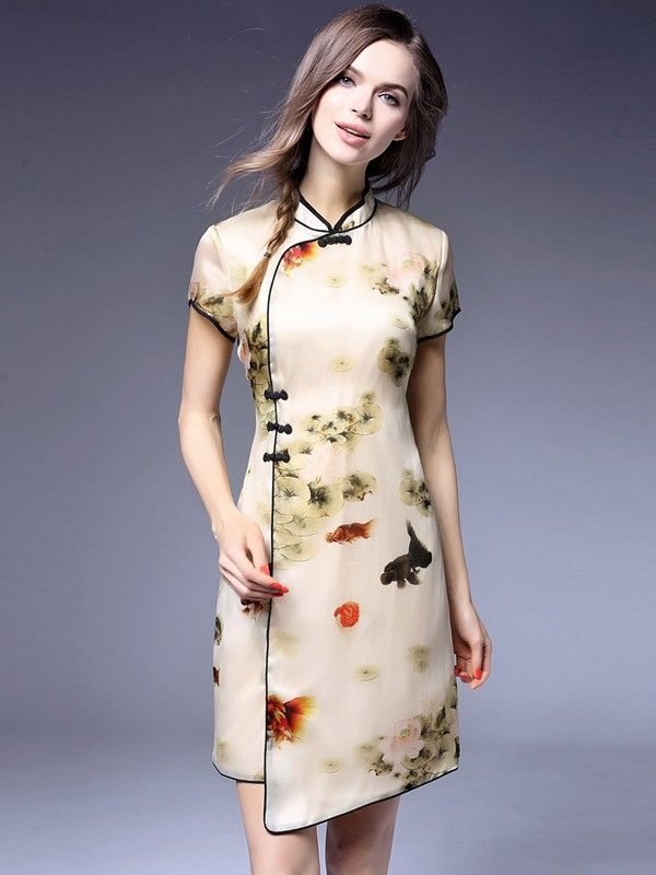 Floral Mulberry Silk Qipao / Cheongsam Dress with Wrap Front ...