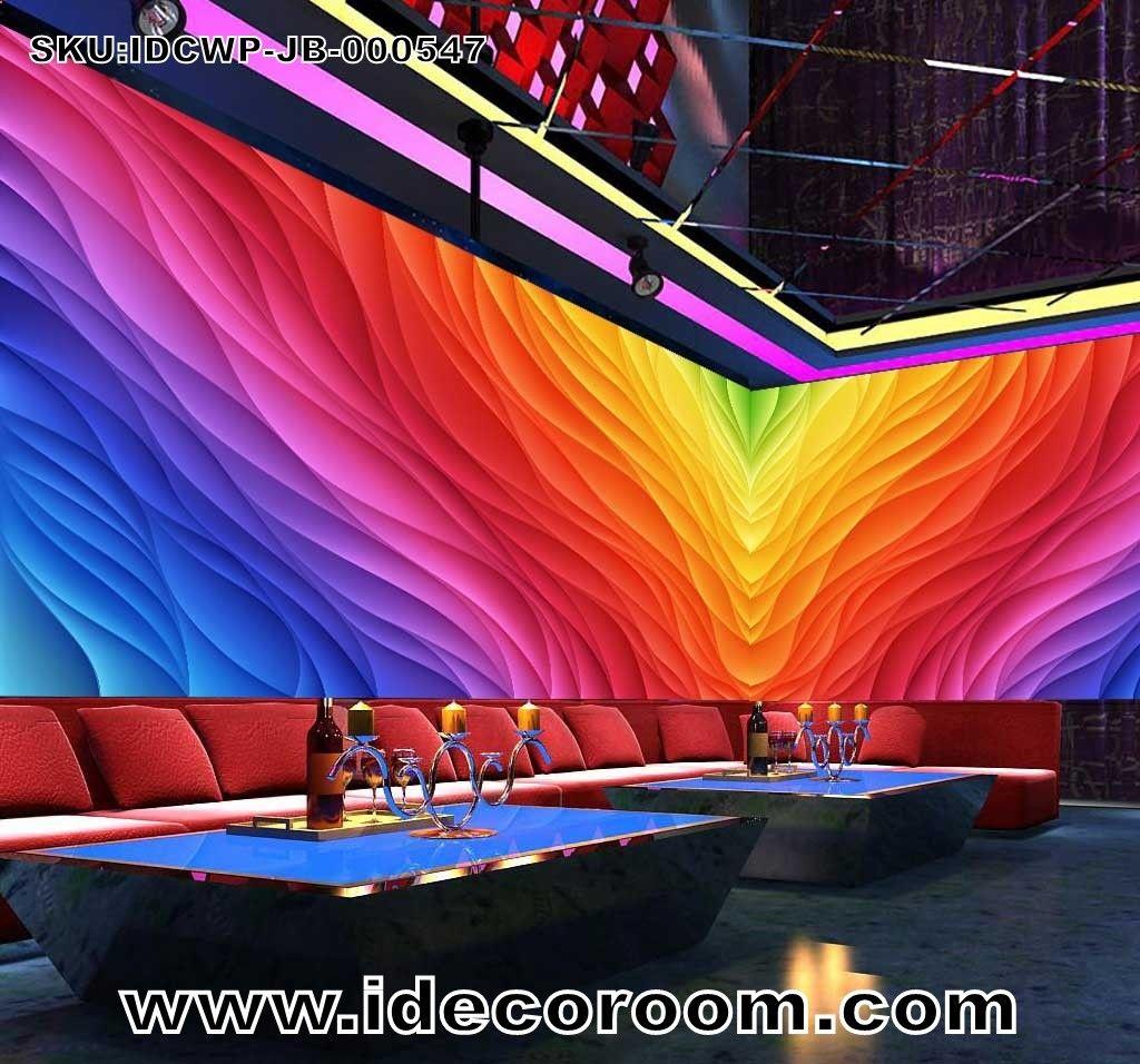 Semicircular Ktv Room Interior Design: 3d Colorful Pattern Graphic Design For Ktv Club Room Art