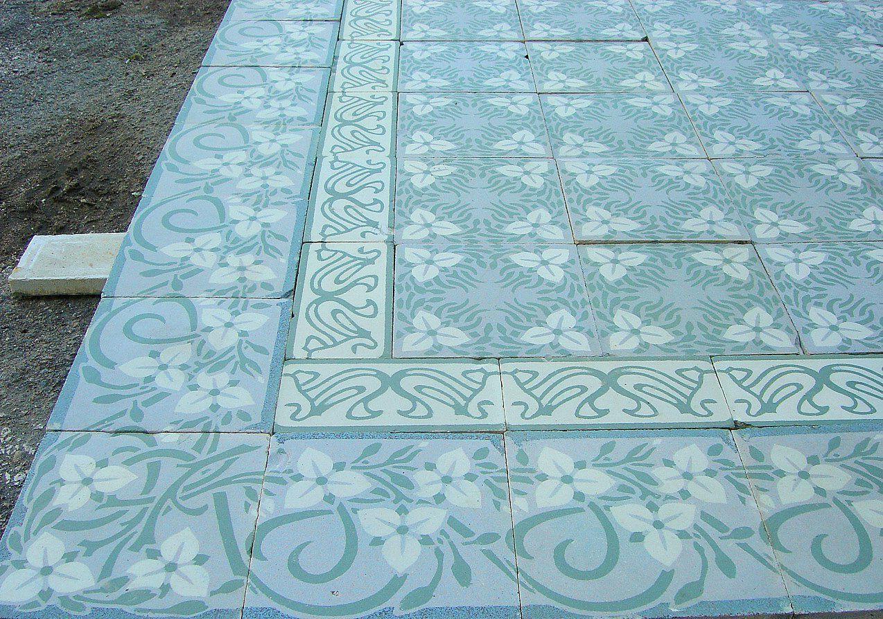 Belgian Art Nouveau floor tiles - early 20th century - The Antique ...