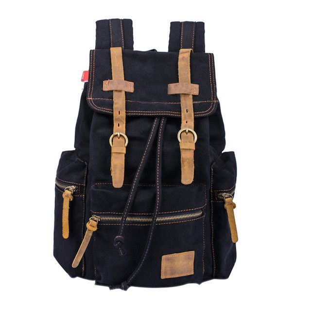 5e0aaacb06b4 Vintage Men Casual Canvas Leather Backpack Rucksack Satchel Bag School Bag  5 Color BS88