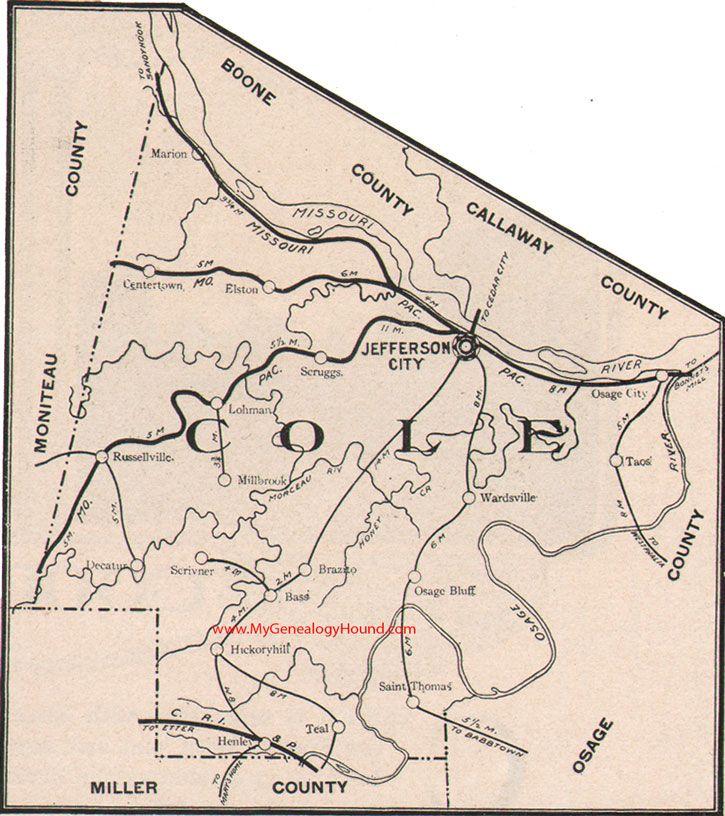 Cole County Missouri Map 1904 Jefferson City, Osage City ...