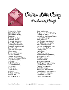 Christian Letter Closings  Christian    Christian