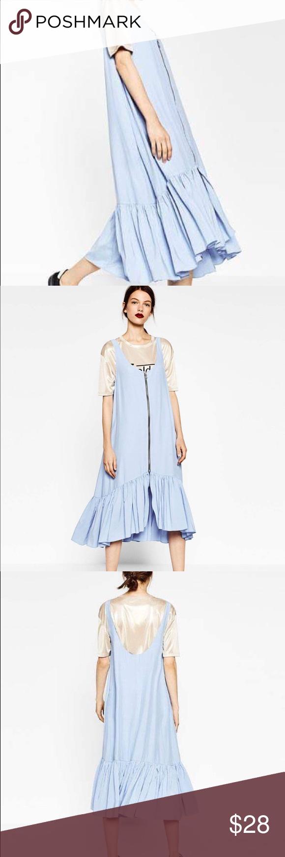 Long zipped dress size m midi dress round neck wide strips front