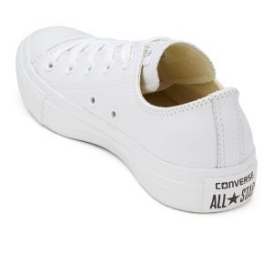 e7357fbd51f2 Converse Unisex Chuck Taylor All Star OX Leather Trainers - White  Monochrome  Image 41