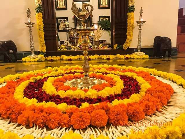 Flower Decoration In Front Of Pooja Room Pooja Space