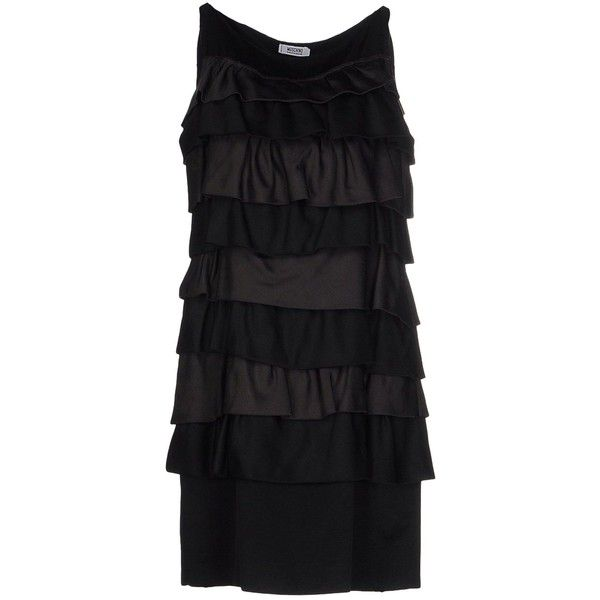 Moschino Cheapandchic Short Dress ($570) ❤ liked on Polyvore featuring dresses, black, pattern dress, ruffle mini dress, sleeveless dress, short ruffle dress and sleeveless ruffle dress