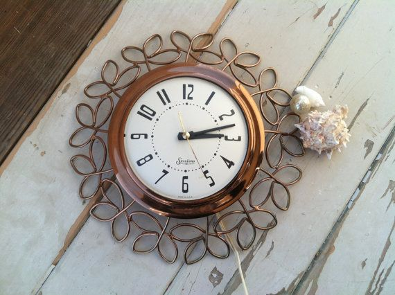 Mid Century Sessions Working Wall Clock In Copper Color On