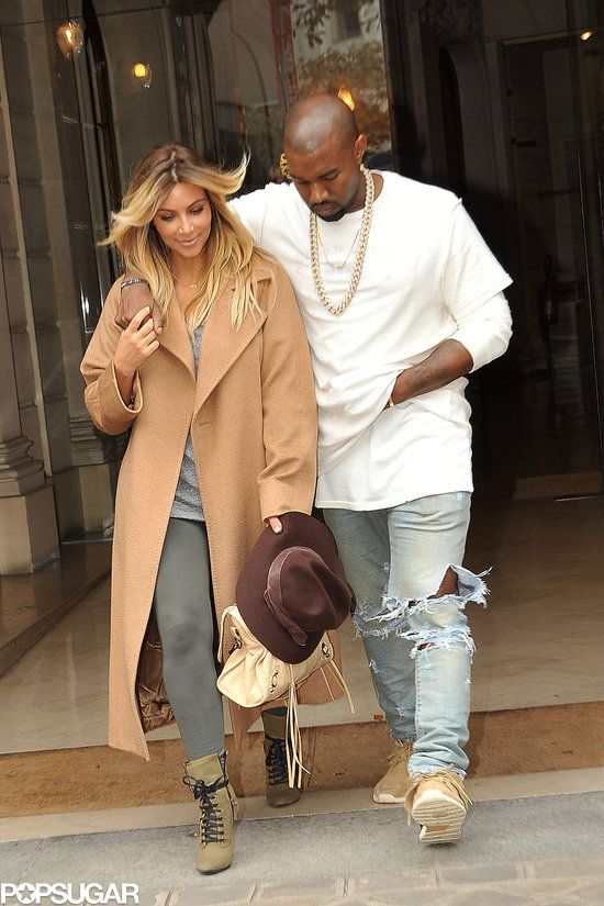 Kim And Kanye Rub Elbows With The Fashion Elite In Paris Kim And Kanye Kanye West And Kim Kim Kardashian