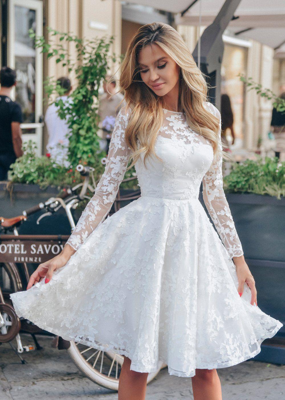 9c594c99e03 Короткое белое платье из кружева с юбкой солнце-клеш и длинным рукавом  NN047 купить в интернет-магазине TobeBride