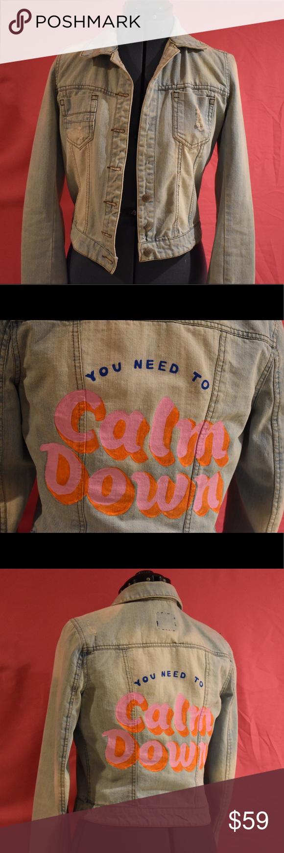 Calm Down Taylor Swift Hand Painted Denim Jacket Hand Painted Denim Jacket Painted Denim Painted Denim Jacket [ 1740 x 580 Pixel ]