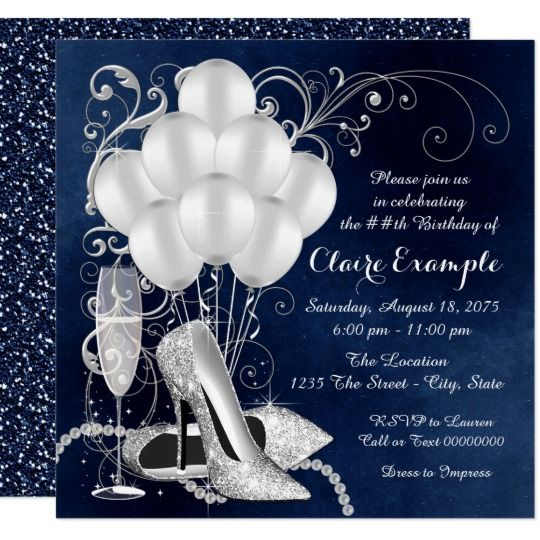 Womans Royal Blue Silver Elegant Birthday Party Invitation
