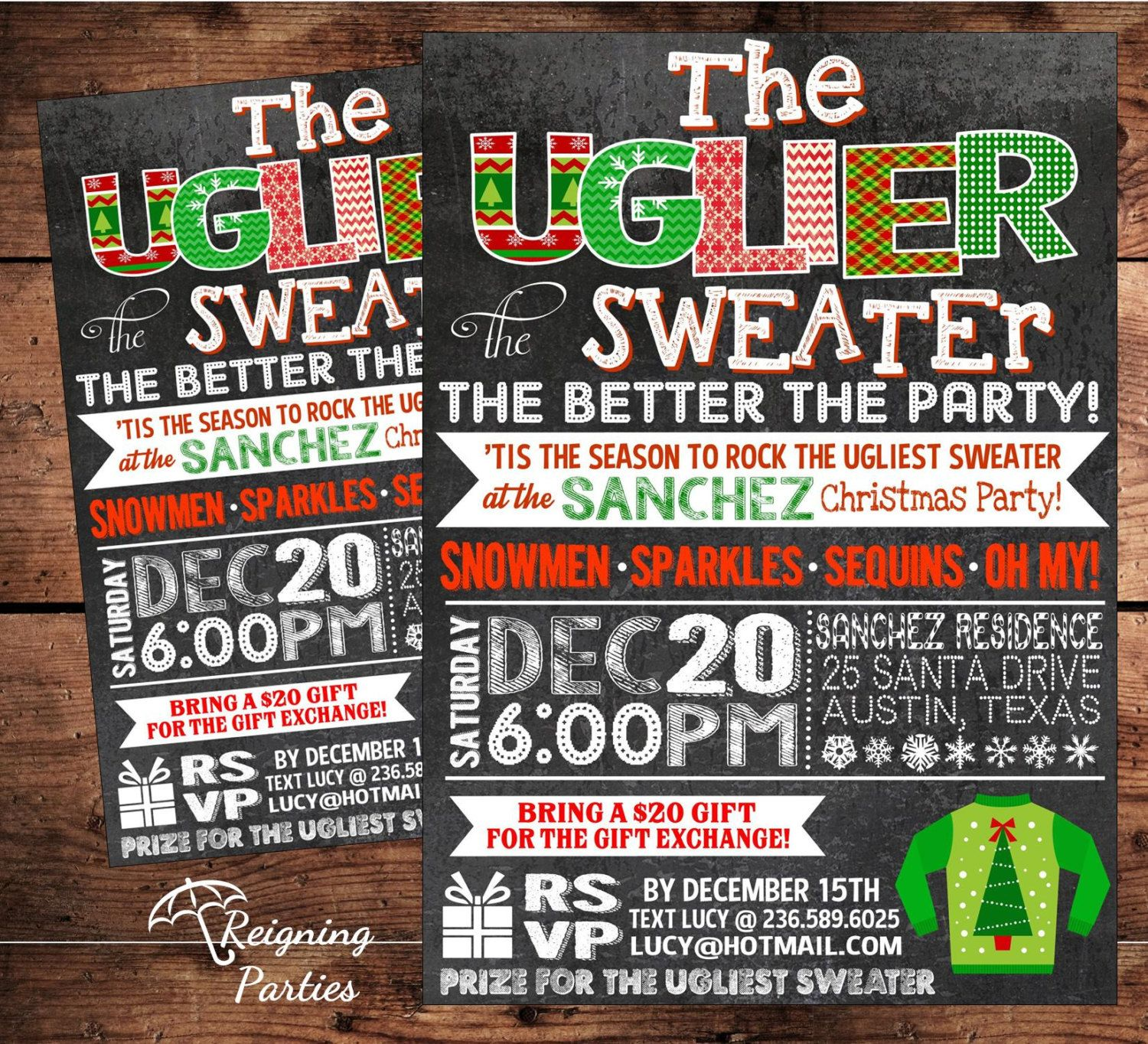 Ugly Sweater Party Invitation Template Free Google Search Ugly