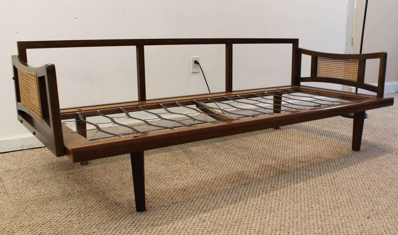 mid century adrian pearsall style caned walnut sofa daybed frame