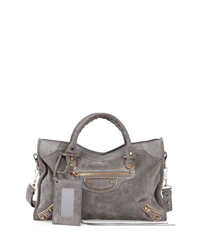 V305g Balenciaga Metallic Edge Suede City Bag Gray