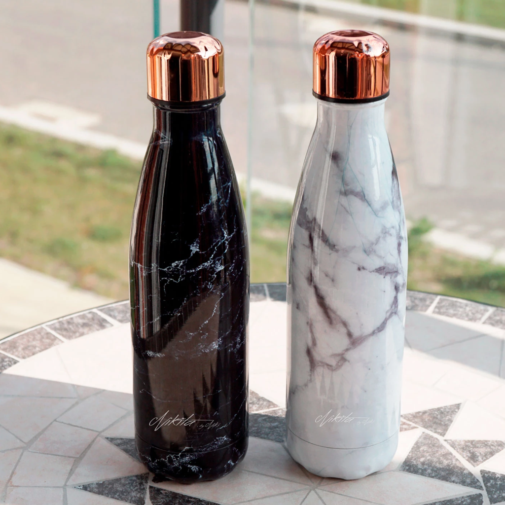 Marble & Rose Gold Metal Water Bottle - 2 Colours