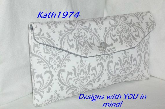 Grey Clutch  Bridesmaid Clutch  SALE  Envelope Clutch  by Kath1974, $18.00. Need a Custom Clutch? This is just a sample of one of the beautiful fabrics I have available for your clutch in my ETSY shop, over 150 different prints available! Come and check it out!