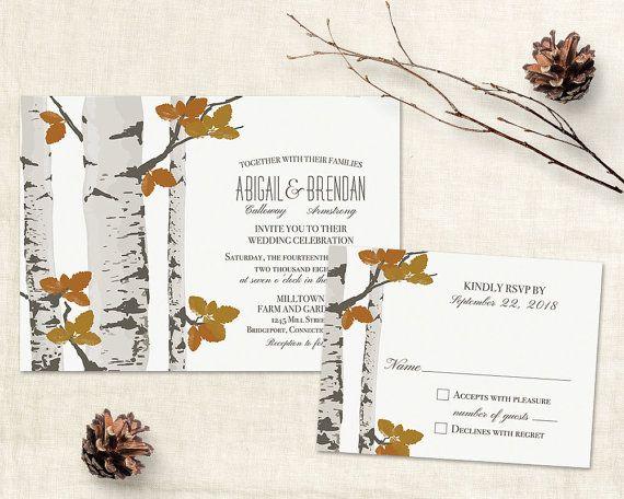 Rustic Fall Wedding Invitation Template Printable Birch Tree Etsy In 2020 Fall Wedding Invitations Tree Wedding Invitations Rustic Fall Wedding