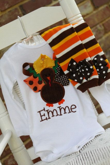 5c0acfb01 Baby Girl Thanksgiving Outfit -- Pretty Little Turkey -- onesie and leg  warmers -- personalized and great for Thanksgiving. $41.95, via Etsy.