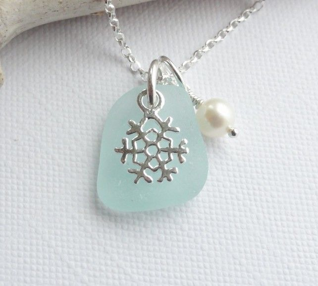 Scottish Sea Glass and Sterling Silver Snowflake Necklace - WINTER FROST £23.50