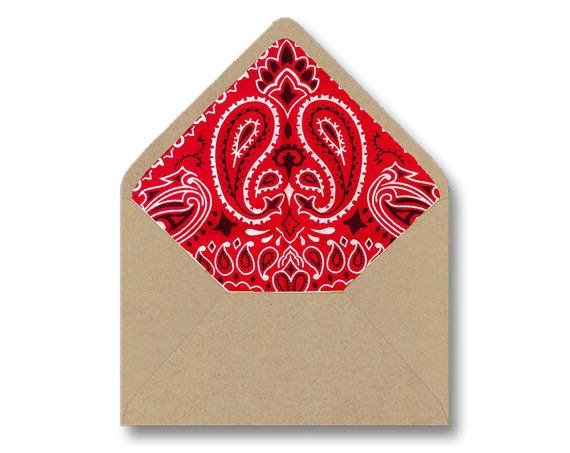 Printable Envelope Liner Template - Red Bandana Paisley DIY Wedding Party Invitations Stationary - Instant Digital Download - Multiple Sizes by Lindorelli  These fun country western barn wedding or party inspired envelope liners are perfect for the DIY Wedding or budget savvy bride or party planner! Or, simply use them for any party, event or daily stationary needs! This printable envelope liner template is easy to use - just print, cut and glue into your pre-purchased envelopes. I offer…