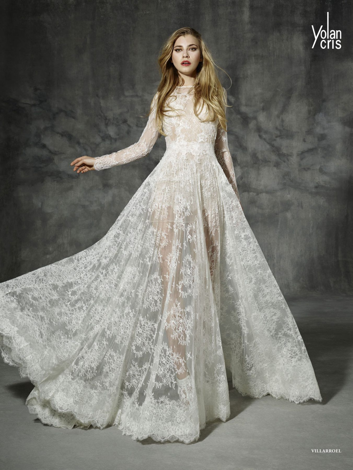 Boho lace sleeve wedding dress made of high quality french chantilly