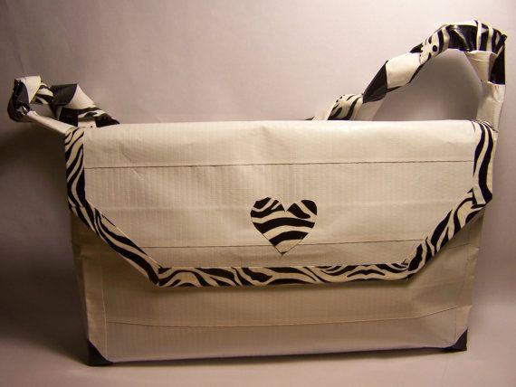 Zebra Heart Duct Tape Purse by chizry on Etsy, $25.00