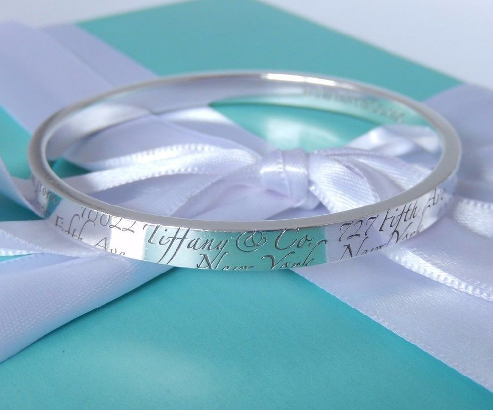 954b4d552 Tiffany & Co Silver Notes Script 727 Fifth Avenue New York Bangle Bracelet # TiffanyCo #Bangle