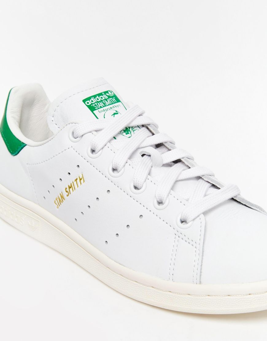 Image 4 of adidas Originals White & Green Stan Smith Sneakers
