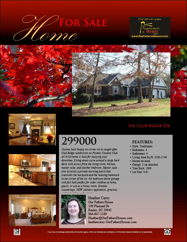 """116 Club Ridge Dr, Pickens - $299,900 - 4br, 3.5 bath home custom built for Southern life.  Home wraps around back deck and opens from several rooms.  Gas logs and trey ceilings in the living area says, """"Welcome Home.""""  Call today for your private tour!"""