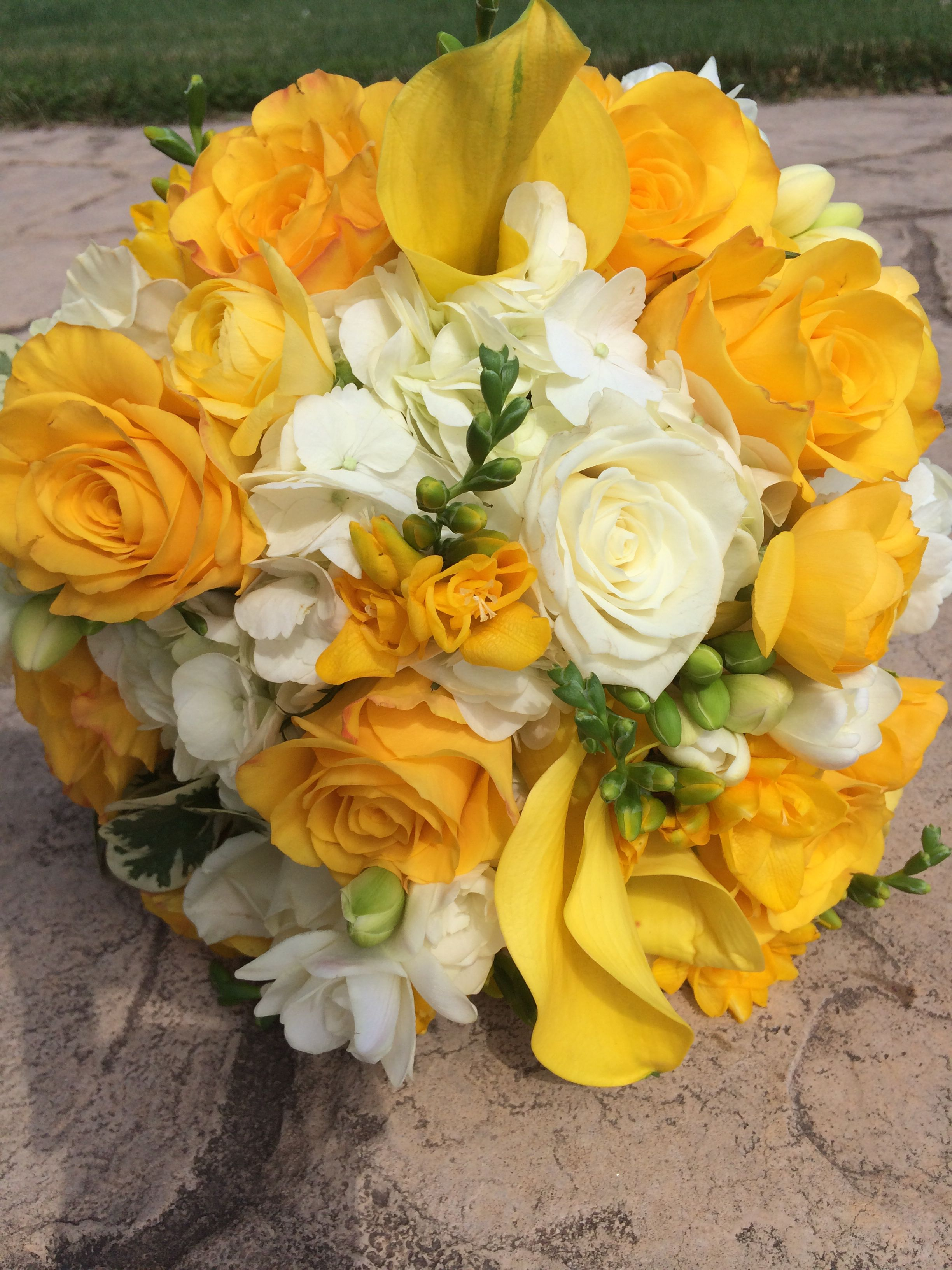 Yellow And White Wedding Bouquet Roses Freesia Calla Lilies