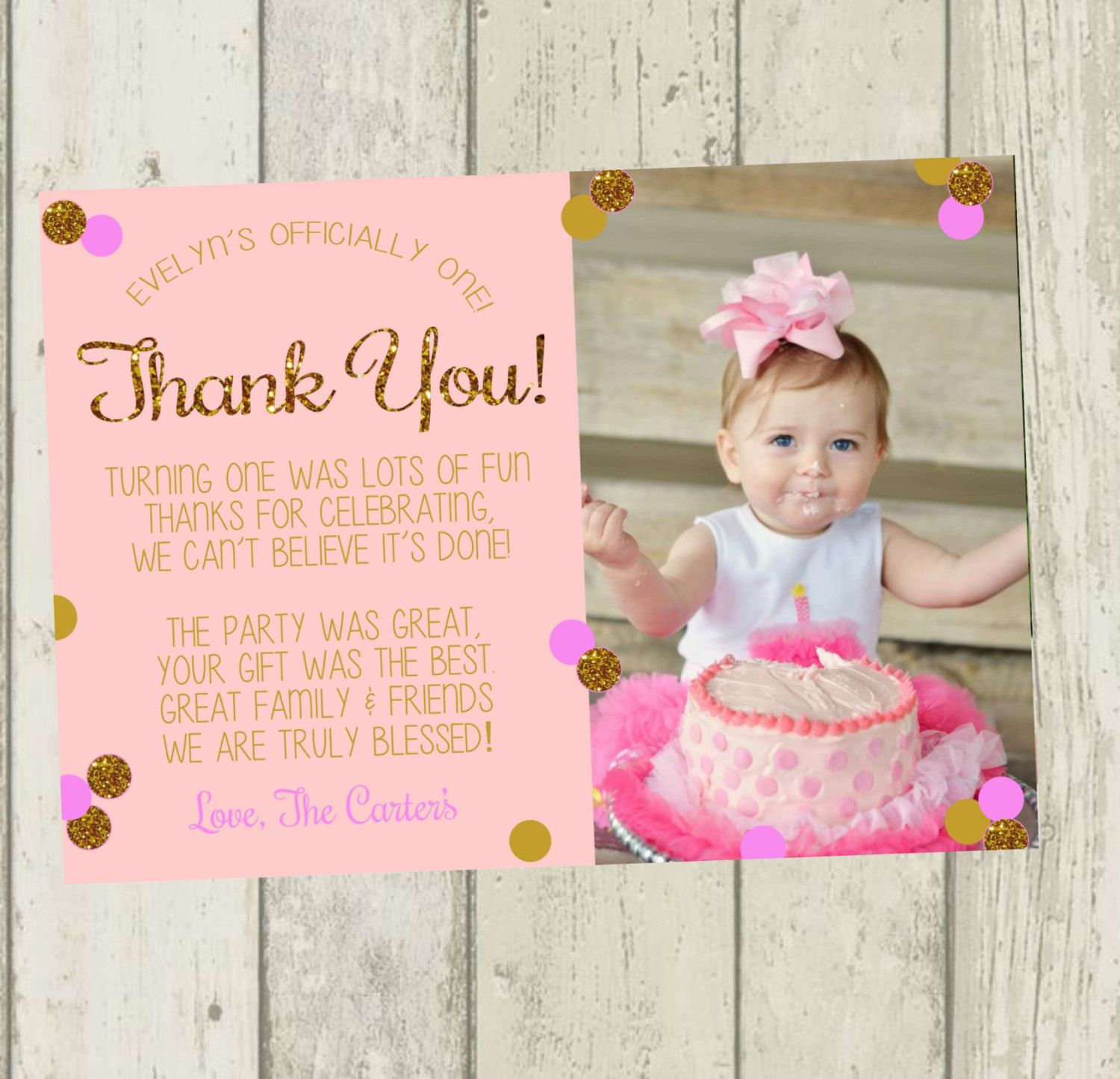 First birthday thank you card pink gold by