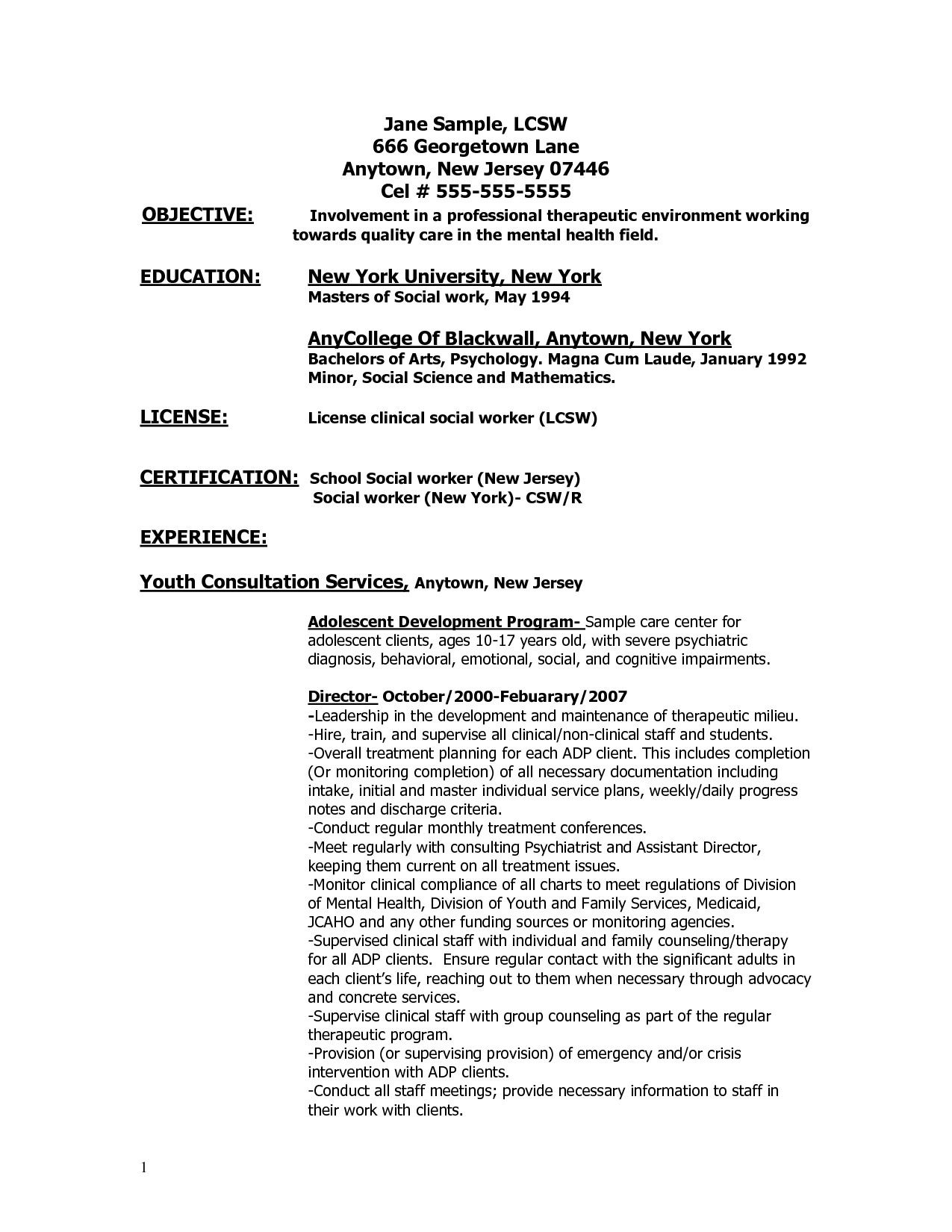 Resume Objective Examples For Graduate