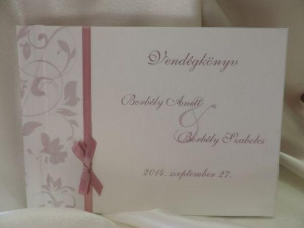 003a46bf76 00050 - Vendégkönyv gyöngyházfényű papír borítással - mintával - szatén  szalaggal - Papírral bevont esküvői vendégkönyvek
