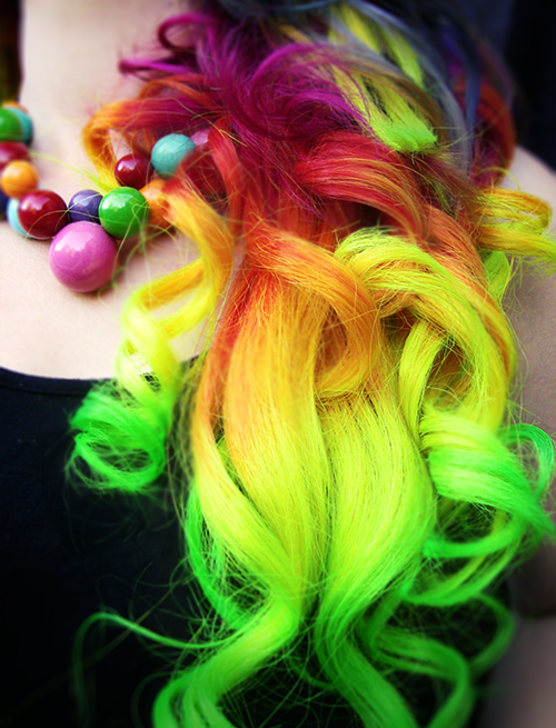 Hand Dyed Rainbow Hair Extensions Clip In Full Head Set Rainbow