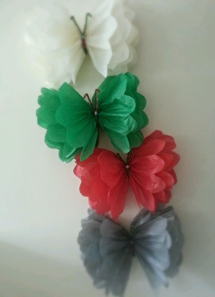 Christmas wall hanging  butterfly decorations tissue paper pom poms