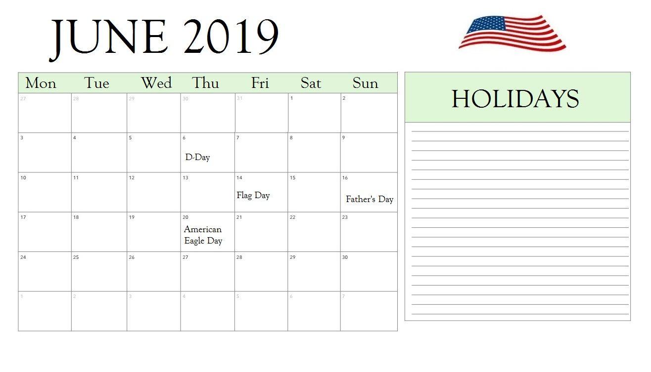 June 2019 Holidays Calendar June 2019 calendar, Usa