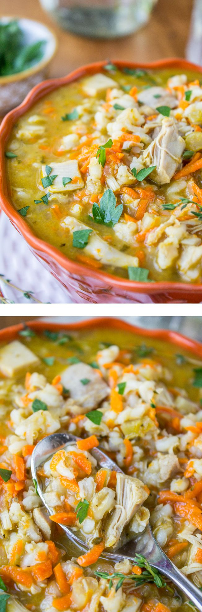Turkey Barley Soup (Slow Cooker) from The Food Charlatan. Make this soup with all your Thanksgiving leftovers!: