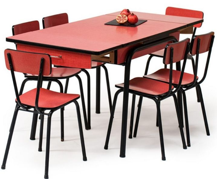 Table Et Chaises Formica Rouge Annees 60 Table Et Chaises Chaise Formica Mobilier