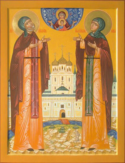 Icon of Saints Peter and Fevronia of Murom(board, levkas, gold, natural pigment)
