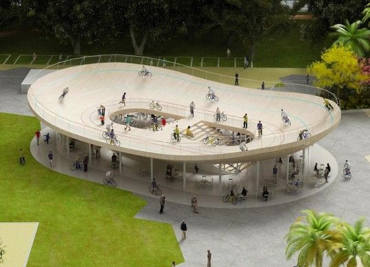 Awesome Velodrome Trebles as a Bike Pavilion and Cafe in China    is part of architecture - NL Architects have designed an awesome velodrome that trebles as a bike pavilion and cafe in China